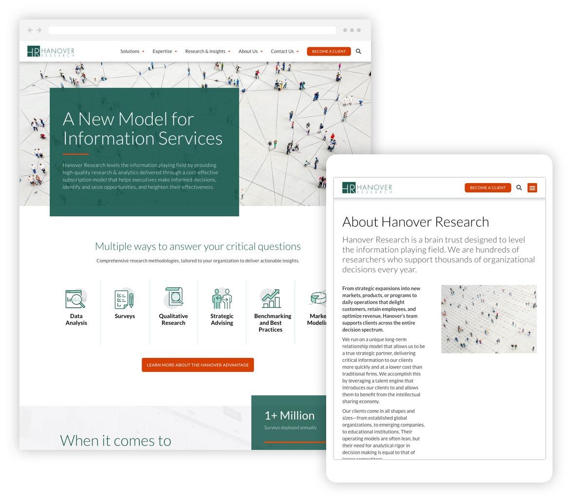 Hanover website desktop and tablet versions