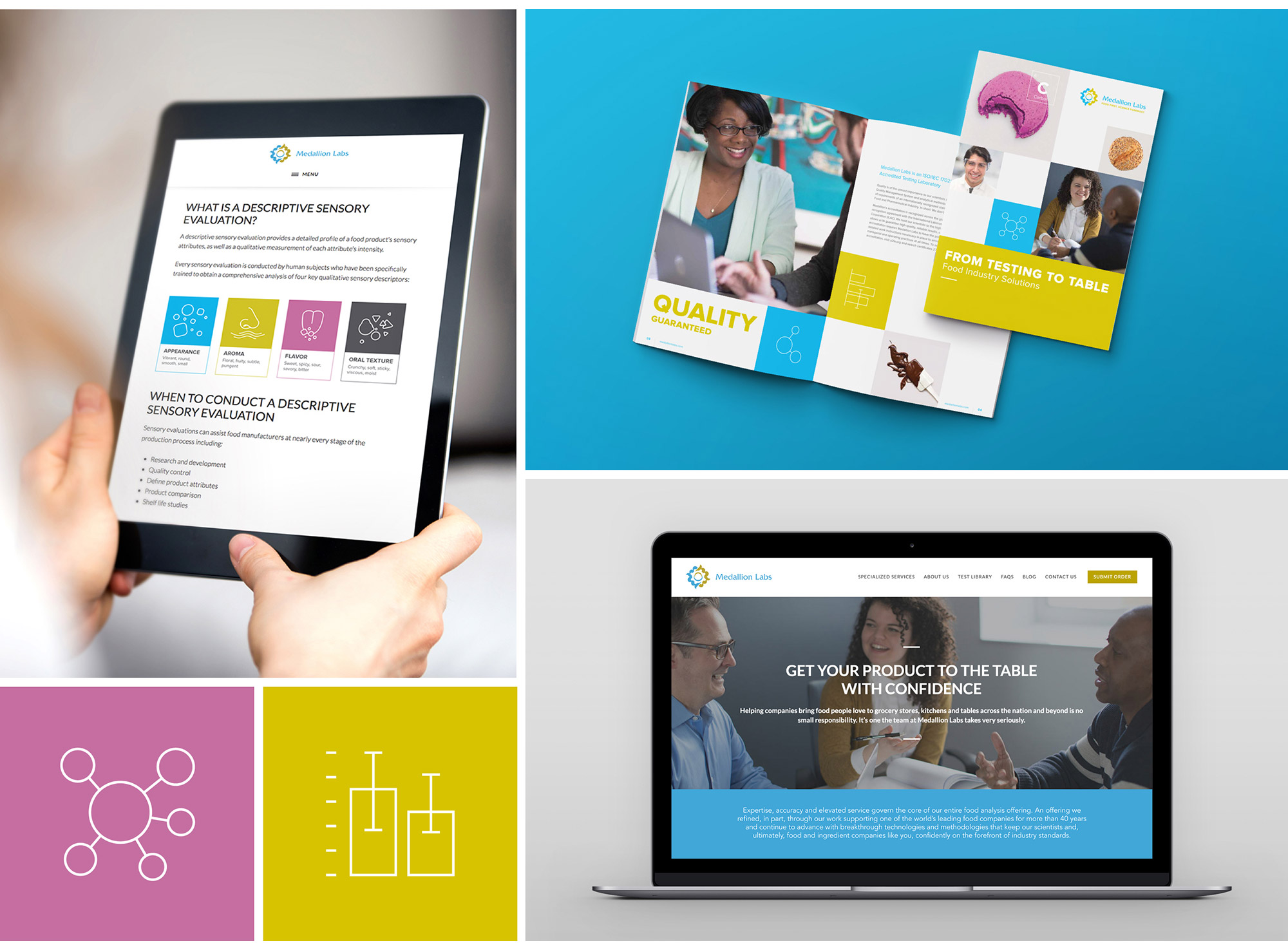 A selection of Olive & Company's print and interactive brand work for Medallion Labs.