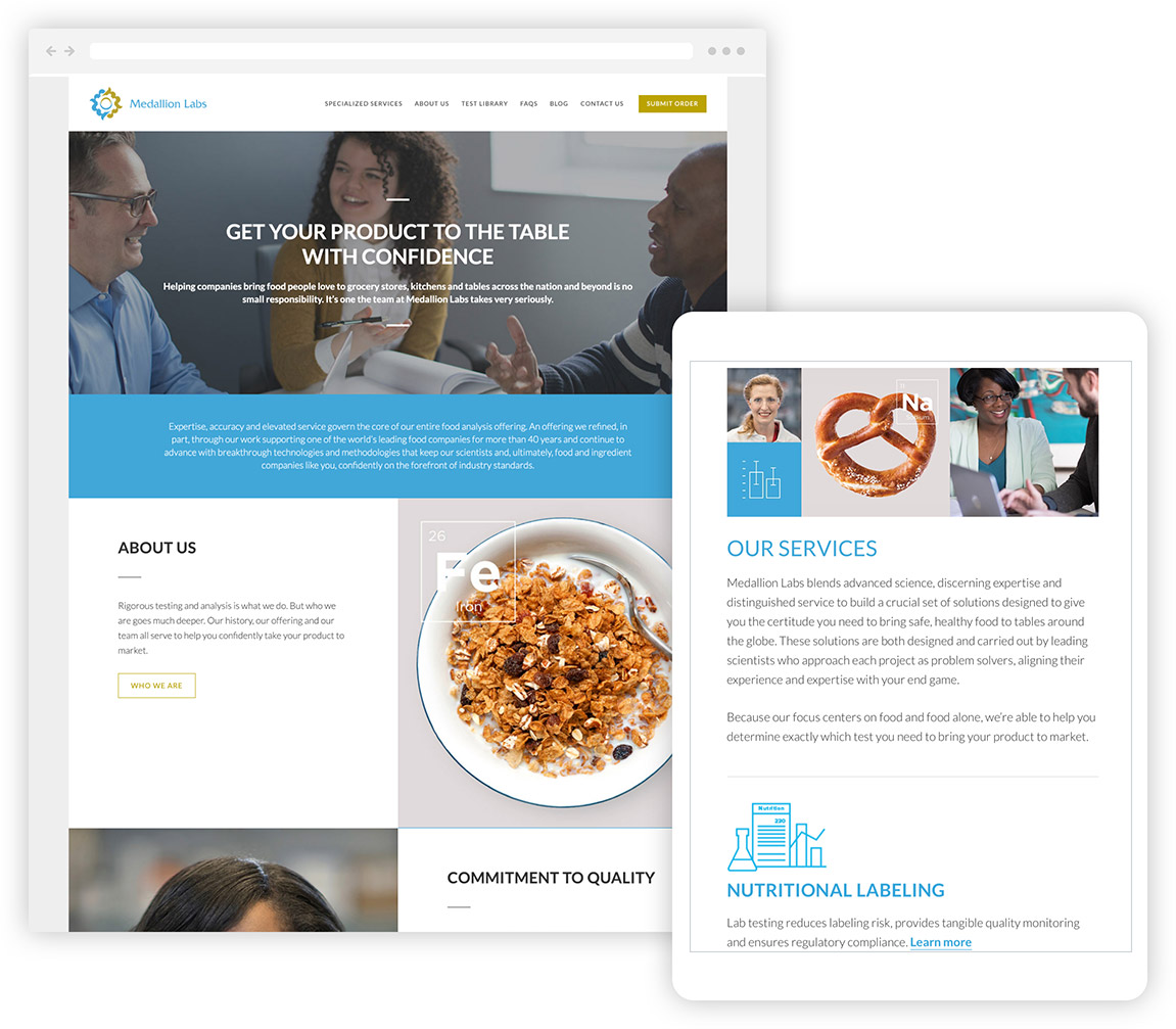The Medallion Labs website shown in responsive desktop and tablet displays.