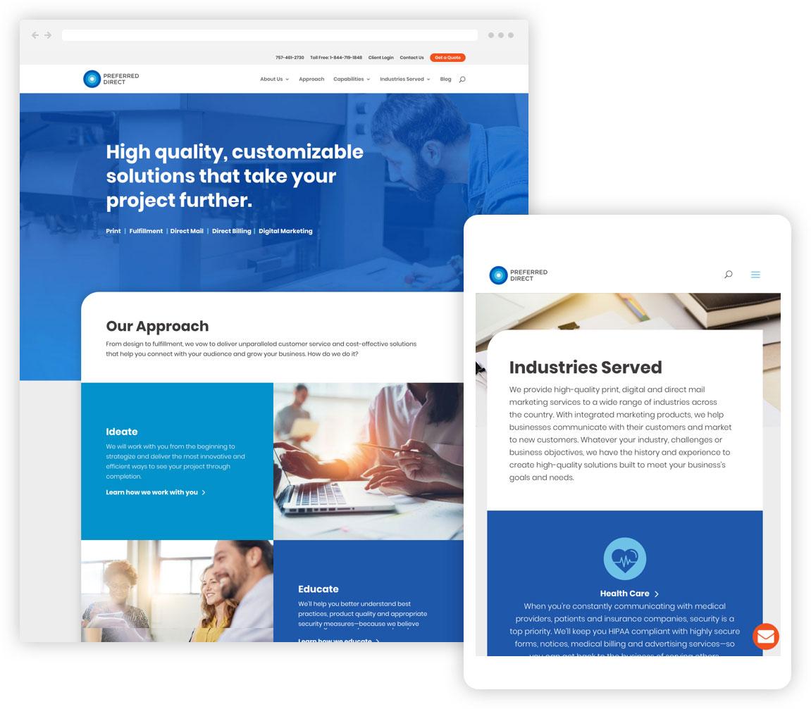 The Preferred Direct website shown in responsive desktop and tablet displays.