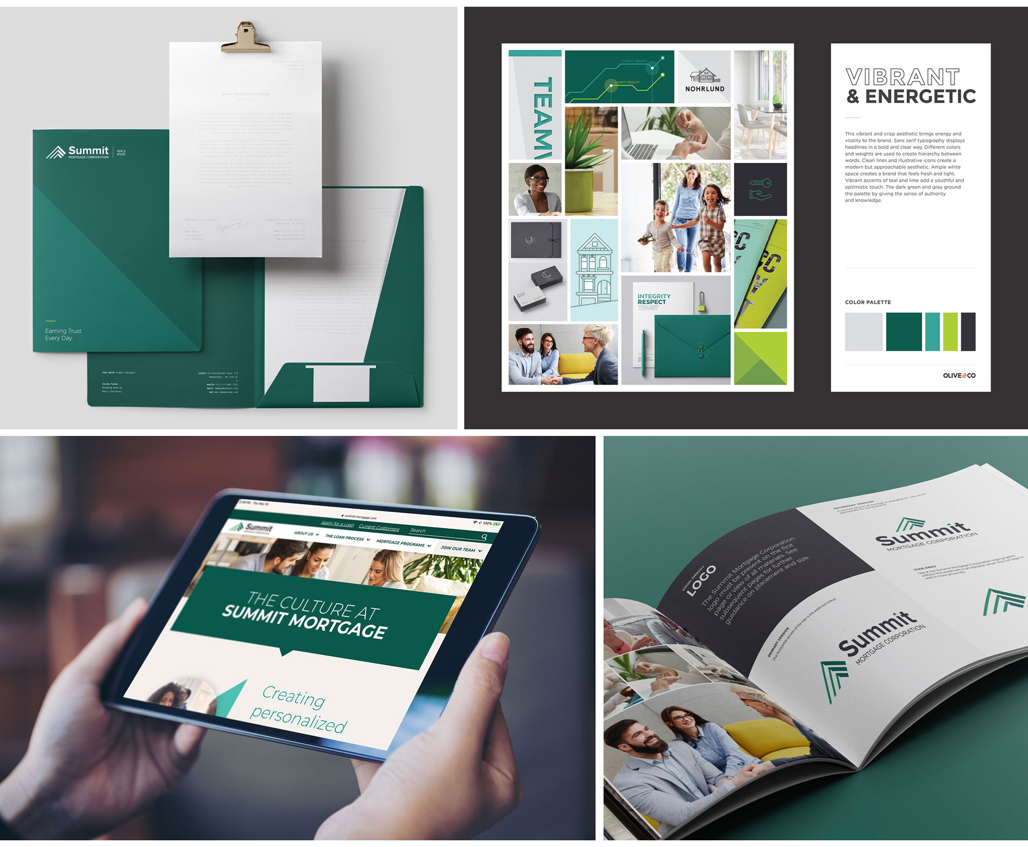 A selection of Olive & Company's brand work for Summit Mortgage.