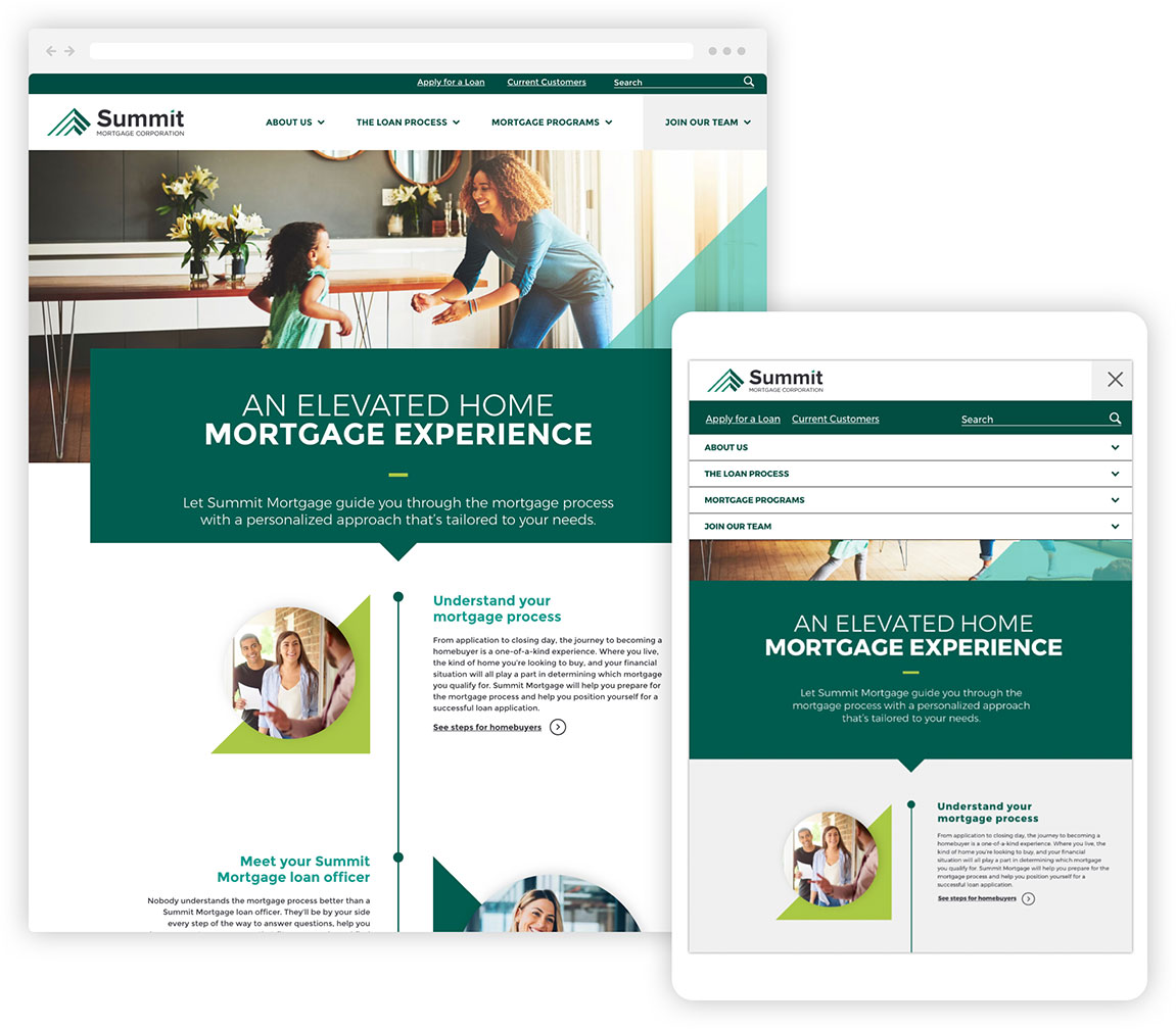The Summit Mortgage website shown in responsive desktop and tablet displays.