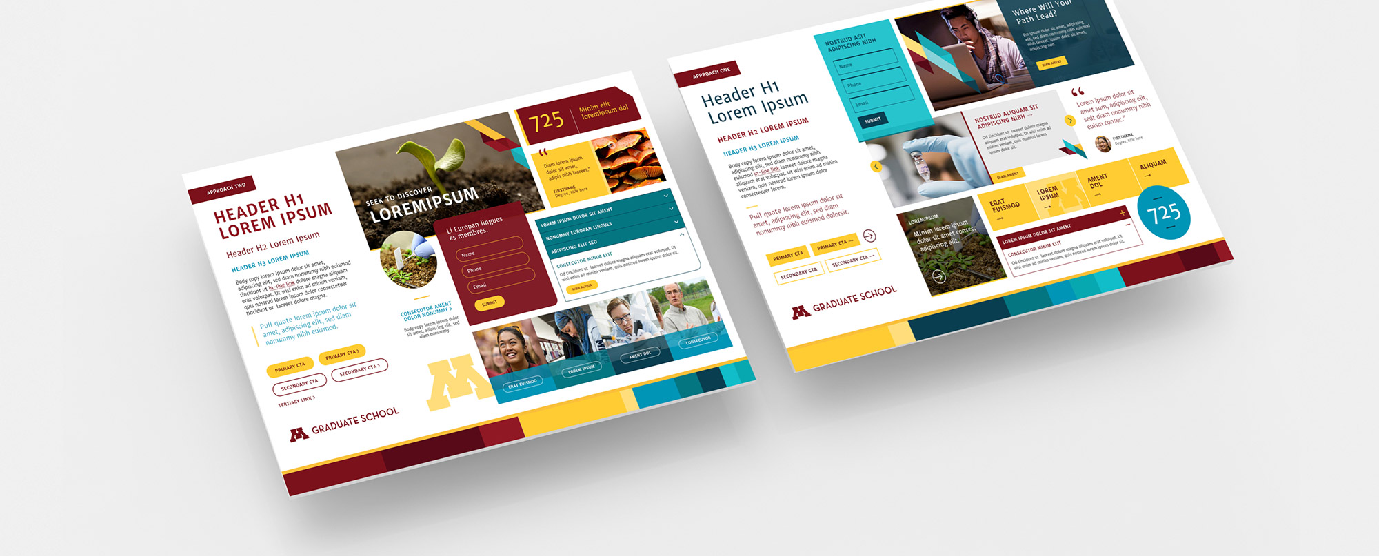 Style tiles used to help guide the design of the University of Minnesota Graduate School website.