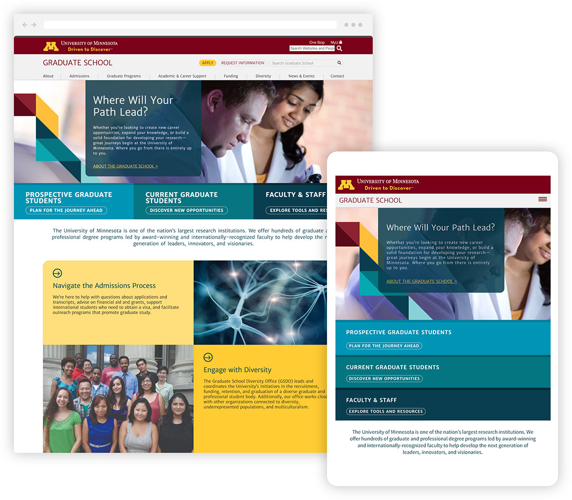 The University of Minnesota Graduate School website shown in responsive desktop and tablet displays.