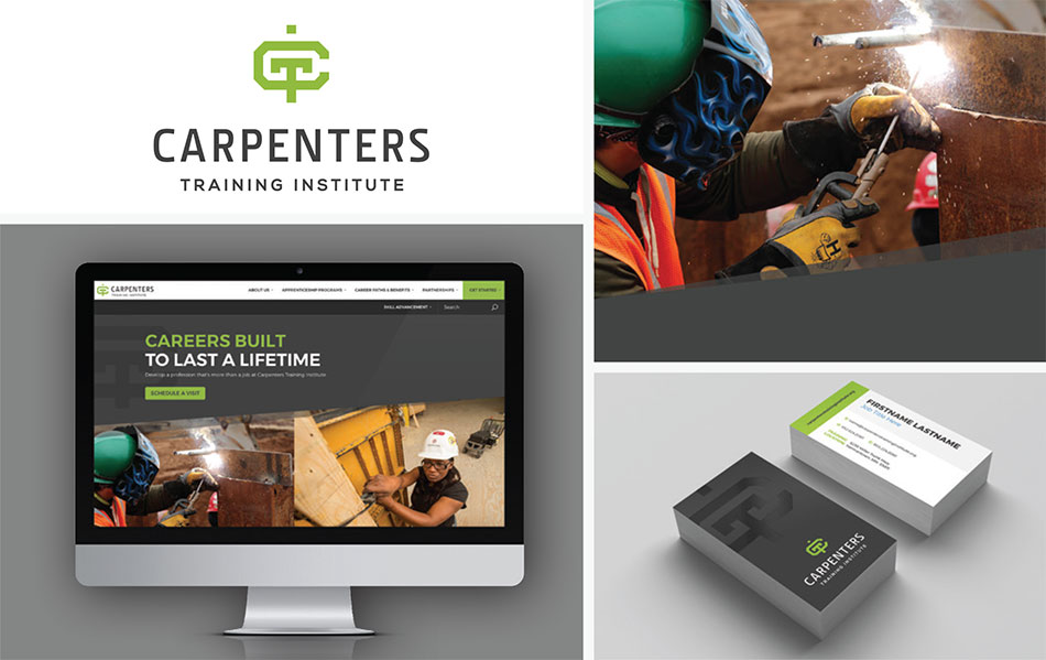 The Carpenters Training Institute logo design and visual brand identity examples.