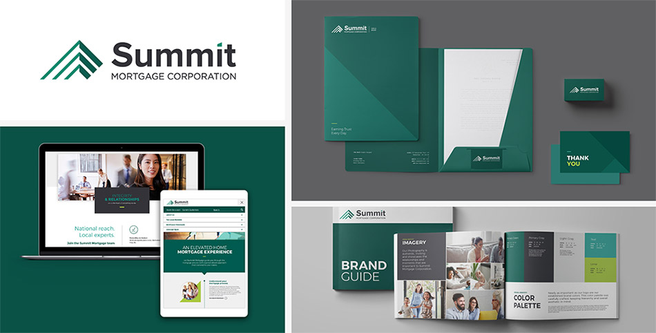 Brand refresh examples for Summit Mortgage, including logo design and identity system.